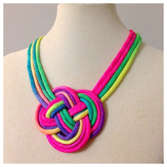 Multicolor Paracord Knot Statement Necklace with Silver Magnetic Clasp... looks awesome!