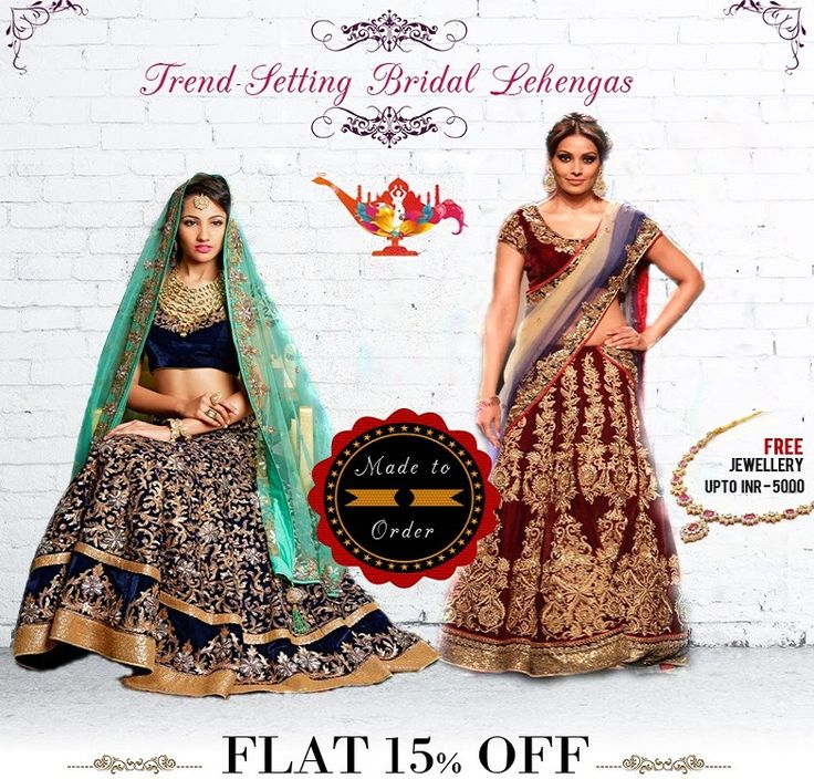 These #BridalLehengas Will Sweep You off Your Feet!  Avail FLAT 15% OFF + Free Jewellery upto INR 5000, use coupon: COUTURE15  #MadetoOrder