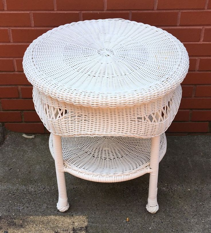 White Wicker Plastic 2 Tier Round Accent Table Indoor