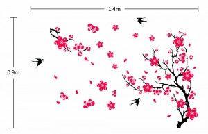 .amazon 16.08 di ufengke decor Fiori di Pruno Luminoso e Rondini Allegre