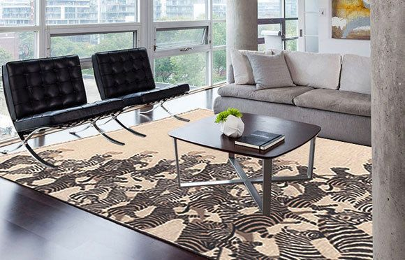 Handmade Modern Rug Zebra light sand and charcoal grey color all sizes New item! #PeelRugs #Novelty