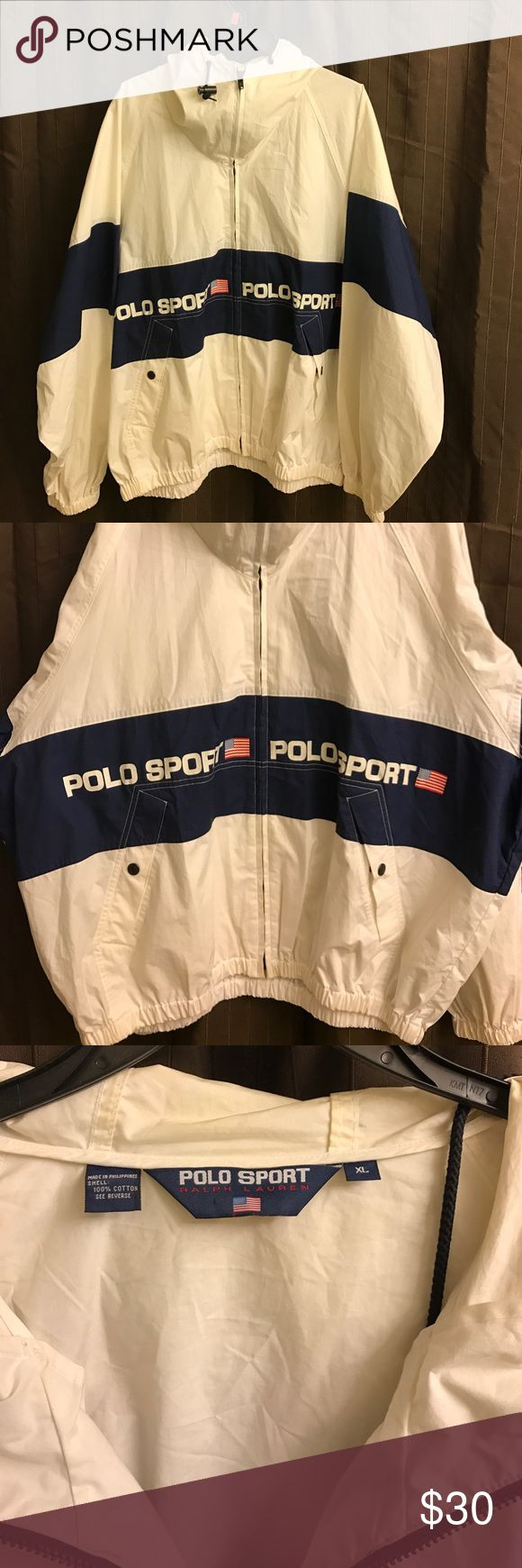 og Polo Sport  Ralph Lauren jacket This is a retro piece // it is lit // size is xl if you like the baggy look :m// color is white and blue // a bit of neck usage // a few ceiling smudges but over all very clean condition 8/10 // that vintage look and feel Polo by Ralph Lauren Jackets & Coats Windbreakers