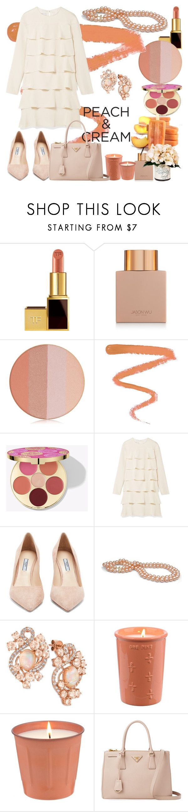 """Peach and Cream"" by nefertiti1373 ❤ liked on Polyvore featuring beauty, Tom Ford, Jason Wu, Ellis Faas, Valentino, Prada, LE VIAN, Creative Displays and peachlipstick"
