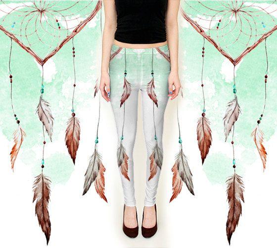 Dreamcatcher Leggings - Feather Dream Catcher Yoga Pants - Turquoise Watercolor Festival Wear - Boho Chic Hippie Leggings - Gypsy Boho Teen
