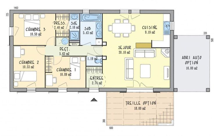 Modèle de maison Invest 92 G  Photo 1 construction Pinterest - plan maison 110m2 etage