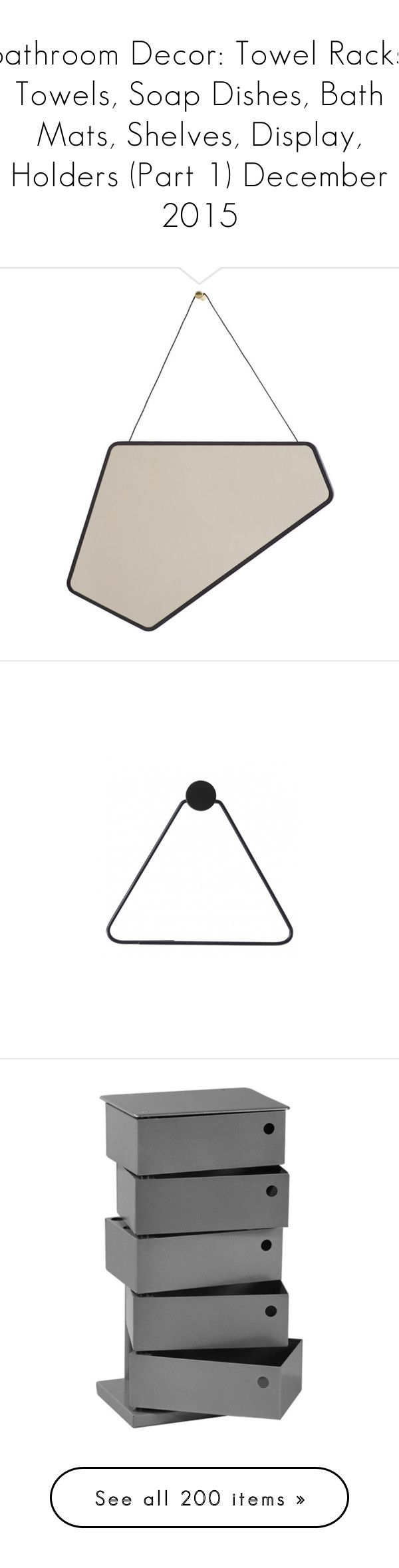 """""""Bathroom Decor: Towel Racks, Towels, Soap Dishes, Bath Mats, Shelves, Display, Holders (Part 1) December 2015"""" by ivygracestyle ❤ liked on Polyvore featuring home, home decor, black home accessories, scandinavian home decor, black home decor, bed & bath, bath, bath accessories, black toilet paper holder and black tissue holder"""