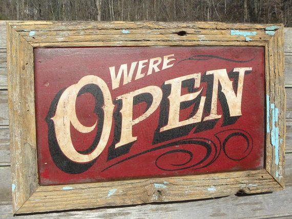 Open Sign hand painted faux vintage wooden by ZekesAntiqueSigns, $85.00