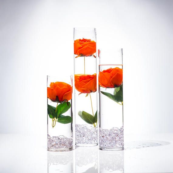 Submersible Orange Rose  Floral Wedding Centerpiece with