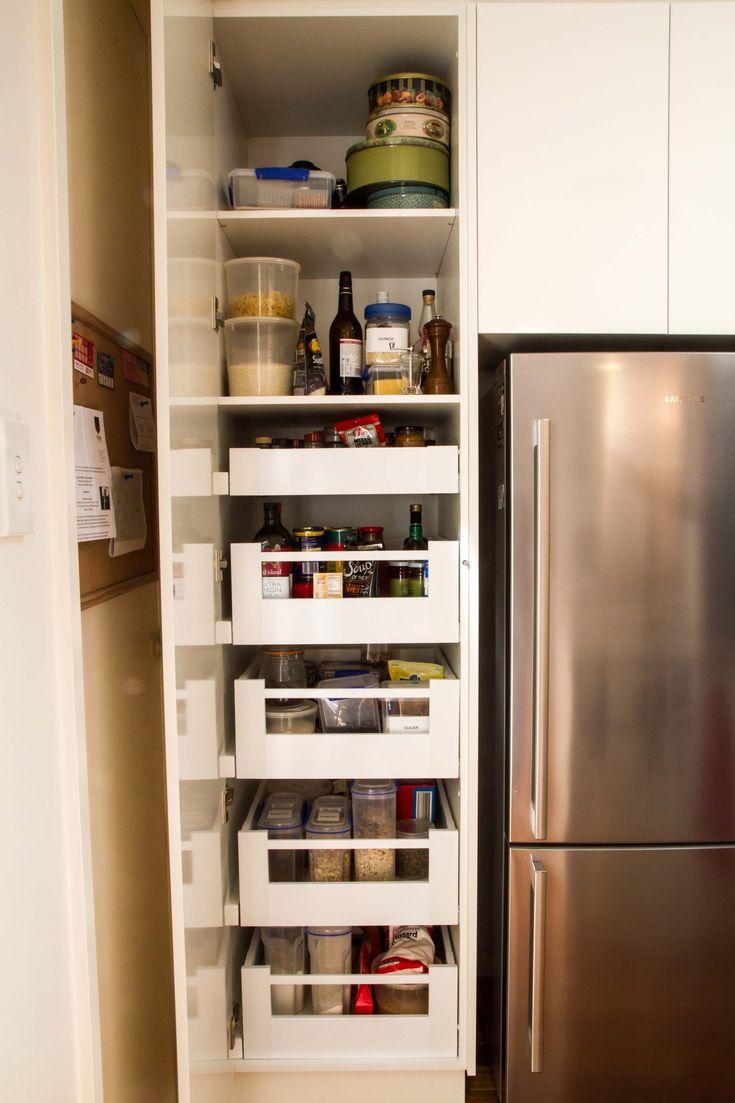 Pantry drawers. Modern kitchen. No handles. www.thekitchendesigncentre.com.au