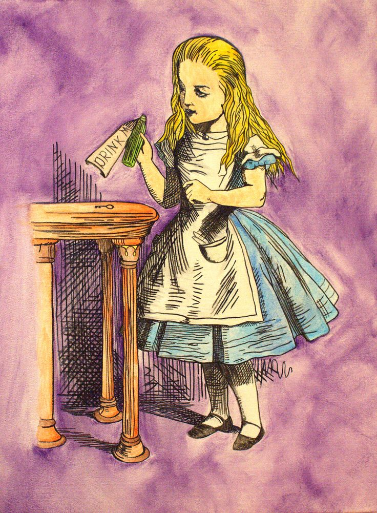 """Hand painted """"Alice in Wonderland: Drink me. Water color on canvas. By: Katherine Granger"""