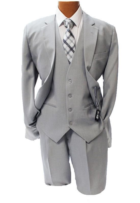 286fc477c43 Stacy Adams Mens Suny Vested Gray 3 Piece Suit 4016-101