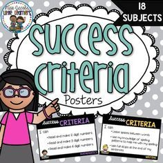 Success Criteria Posters: Here is cute display for you to use over and over again in the classroom so that your students have a visual to remind them about their learning goals for each lesson. You can use this in 2 ways: Type in your learning focus straight into the PDF file with Adobe Reader, print and display OR Print blank sheets, place in a plastic pocket and display in classroom. Use whiteboard markers to record daily learning focus and rub off to re-use the next day.