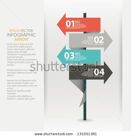Modern road sign arrow design template. Used for infographics, sign banners, horizontal cutout lines, graphic or website layout vector by Soleiko, via ShutterStock