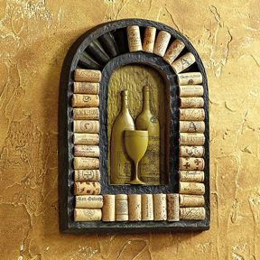 """Tuscan Wine Relief Cork Holder from WineRacks.com for $37.99  Unique wall art displays up to 35 wine corks! Showcase wine corks from bottles toasting memorable milestones to occasions honoring personal celebrations — rustic Tuscan wall art is specifically designed to hold your cork keepsakes in place.  10.5""""W x 14.75""""H x 1.25""""D size."""