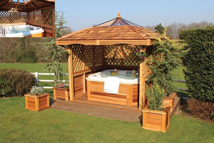 Outdoor hot tub swim spa photo gallery installs from - Gazebos de madera ...