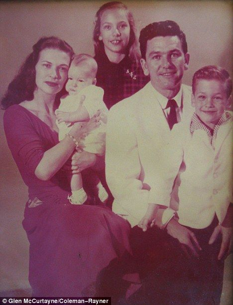 Family: Patsy has revealed never-seen-before family pictures of her famous son's childhood - including this portrait of Patsy and Patrick (right) with father Jesse and Patrick's siblings Donny and Vicky