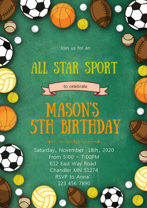 star sport birthday party invitation