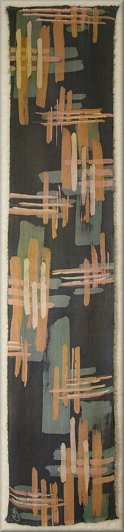 """Brush Strokes, in Copper Tones - Backgound Green with hint of charcoal mixed in - Dupioni Mens Silk Scarf (approx. 11x54 inches) by Laura Elderton """"Silk in Art"""""""