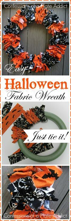 CONFESSIONS OF A PLATE ADDICT Easy Halloween Fabric Wreath...Just Tie It!