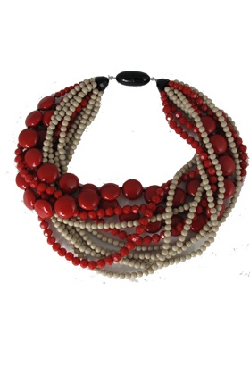 Angela Caputi Red Multi Strand Necklace