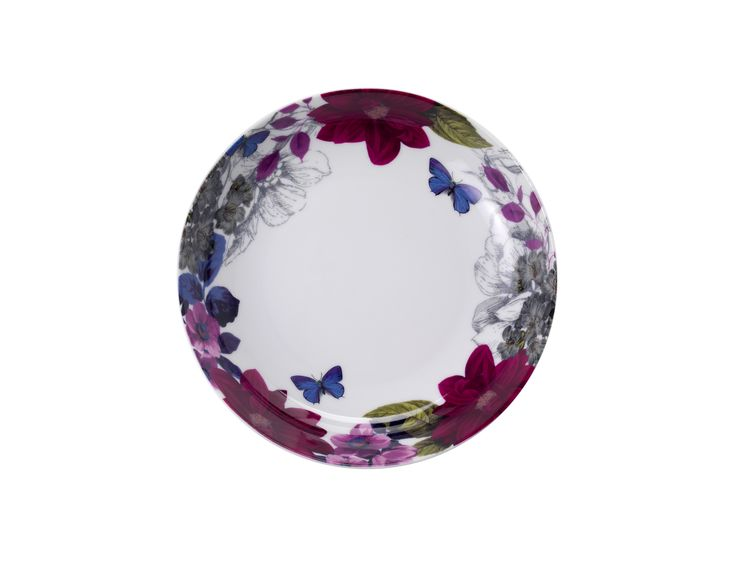 Bordered with purple, pink and blue floral details, this wide-rimmed bowl is perfect for serving pastas and salads. Priced at £4