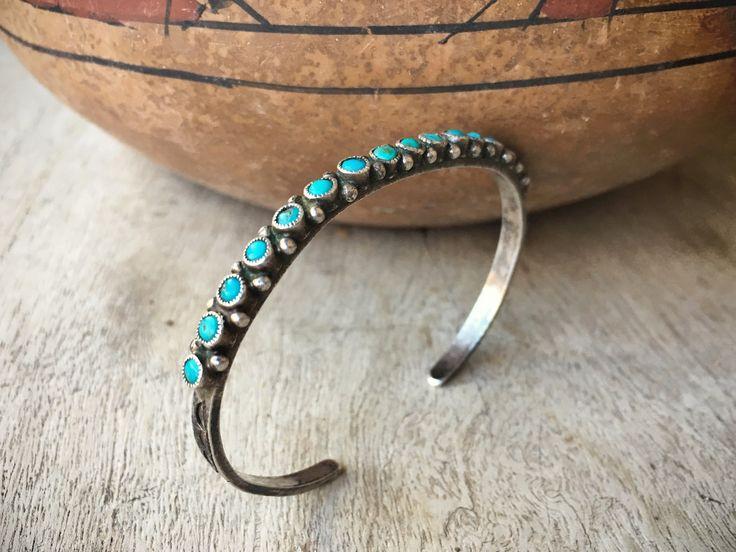 Dainty Turquoise Cuff Bracelet Zuni Jewelry Row Bracelet, Old Pawn Turquoise Jewelry