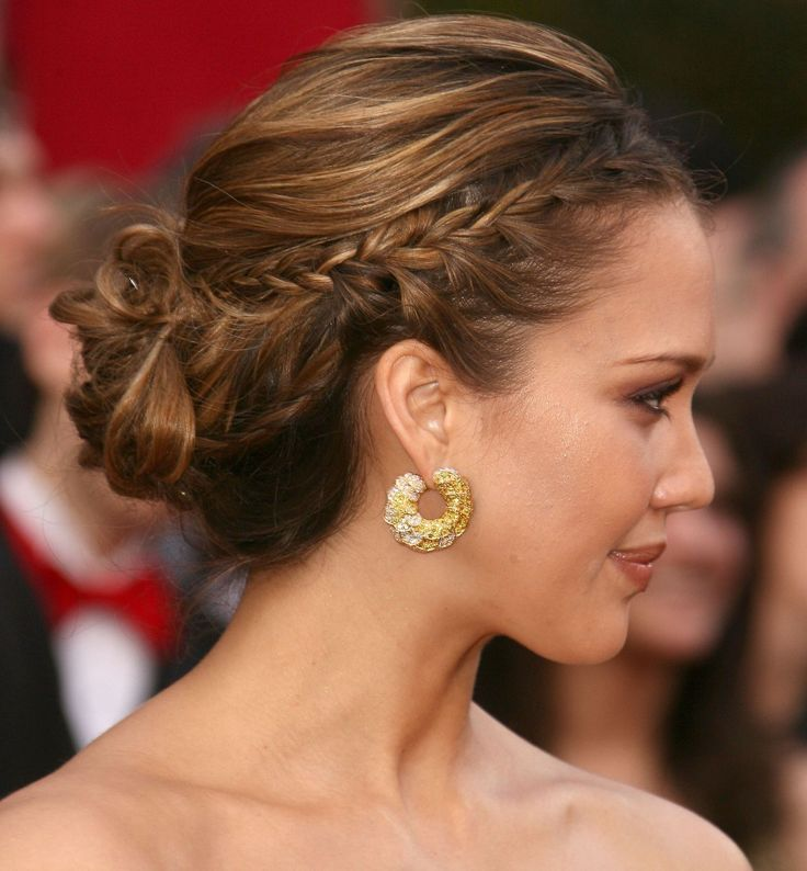 Long hairstyles: French plaited updo - CosmopolitanUK