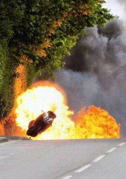Guy Martin's fiery crash at the  Isle of Man TT