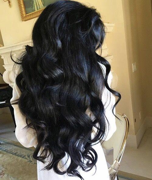 Long full jet black wavy hair
