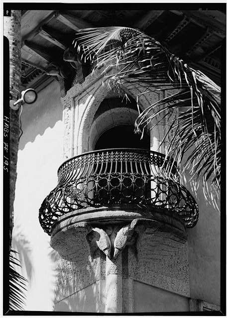 66.   April 1967 DETAIL OF IRON BALCONY OFF SPANISH ROOM BATH SHOWING EAGLE BRACKETS - Mar-a-Lago, 1100 South Ocean Boulevard, Palm Beach, Palm Beach County, FL