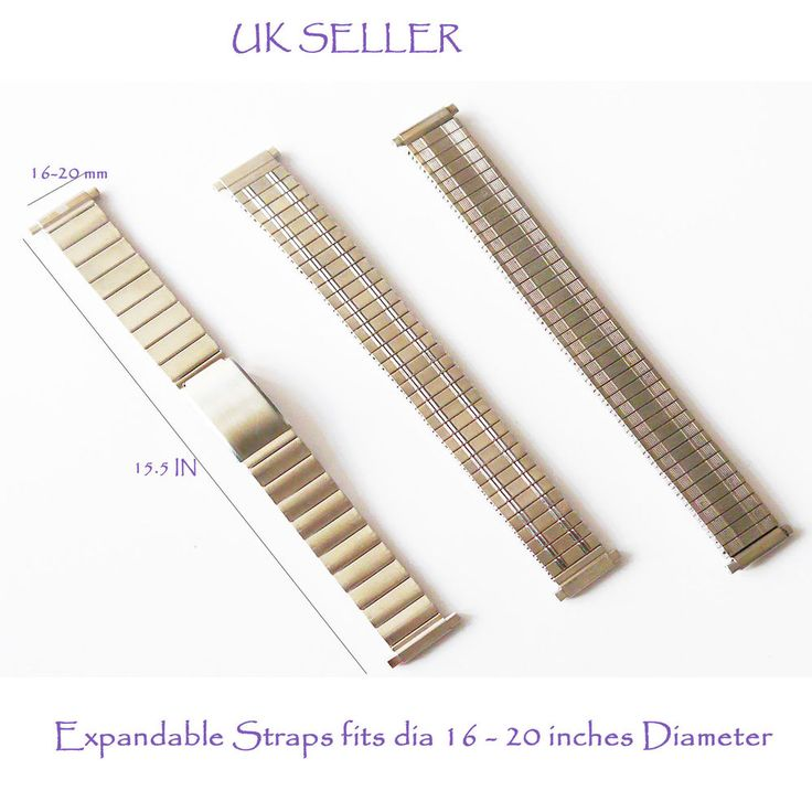 Mens Stainless steel silver watch straps bracelets flexi expanding 16-20mm strap