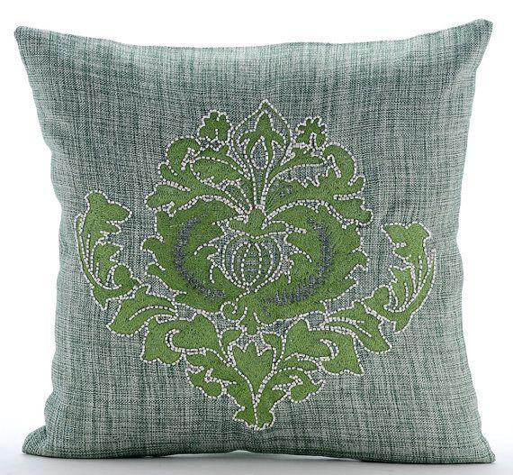 Green Damasko - 16 x 16 Inches Thread Embroidered Jute Burlap Pillow.
