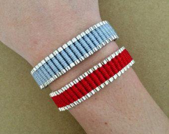 Verwijzigingen vriendschap rood, wit, zwart en grijze armband - Braid gevlochten armband, armband, één richting armband