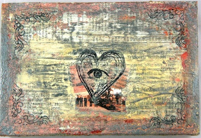 "altered sigar box by Linda Brun with 3rd Eye stamps (""see with the heart"" and ""wind corner"") <3 http://3rdeyecraft.com/ <3 #stamping #stamp #craft"