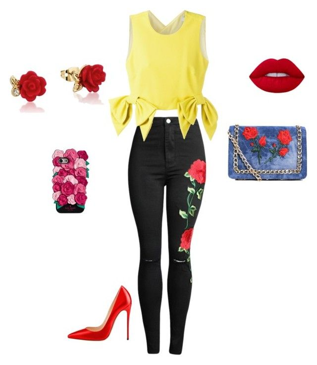 """""""Disneybound: Belle"""" by princess-ja ❤ liked on Polyvore featuring MSGM, Disney, Kate Spade and Boohoo"""