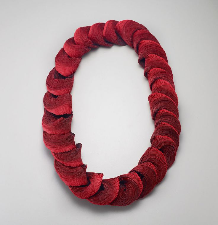Yong Joo Kim Necklace: Transitions in Red I, 2015 Hook-and-loop fastener, thread 35 × 25 × 3.5 cm