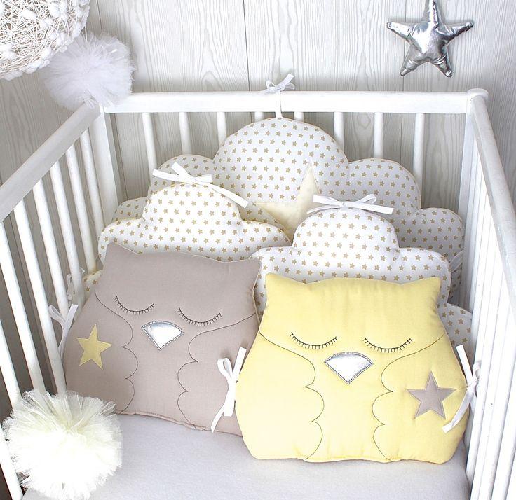 Tour de lit bébé en 60cm large, nuages et hiboux, couleur blanc, beige et jaune