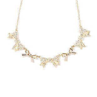 Rhinestone Bow Bib Necklace