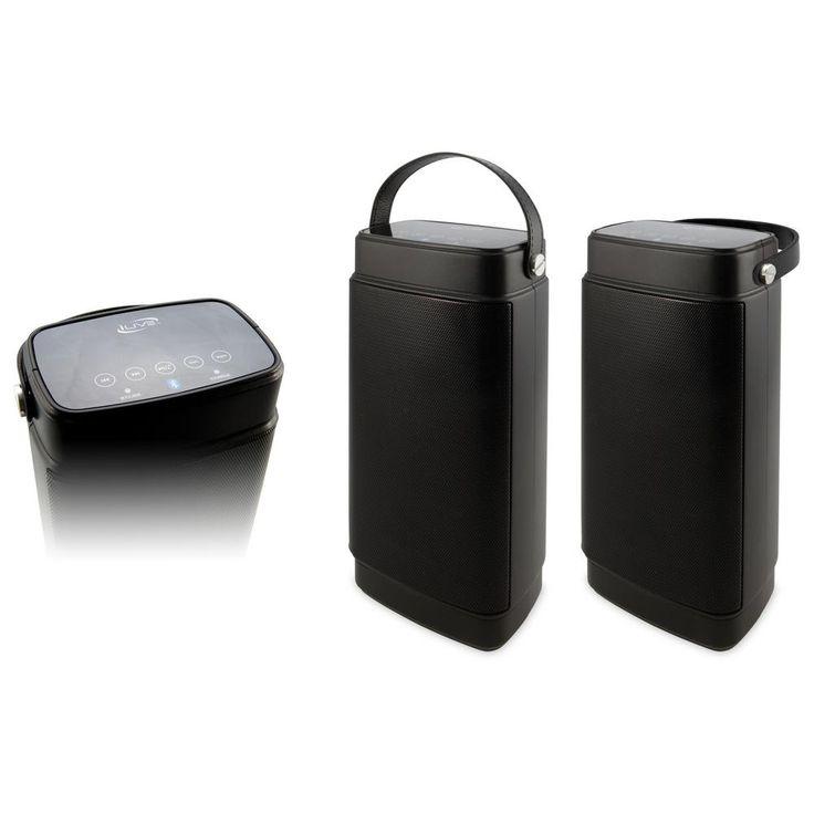 Dual Portable Bluetooth Water Resistant Speakers, Black