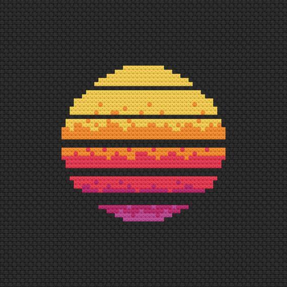 80s Neon Electric Sun cross stitch pattern digital download