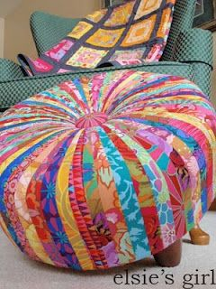 DIY Recycle scrap fabric into tuffet / stool by Elsie's Girl Awesome but looks like quite a project!