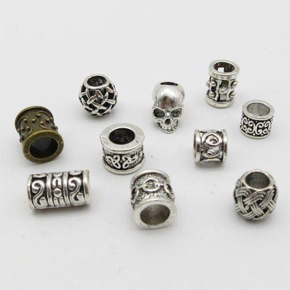 10pcs/Pack mix metal set for viking hair braid dread beard dreadlock beads rings…   – Products