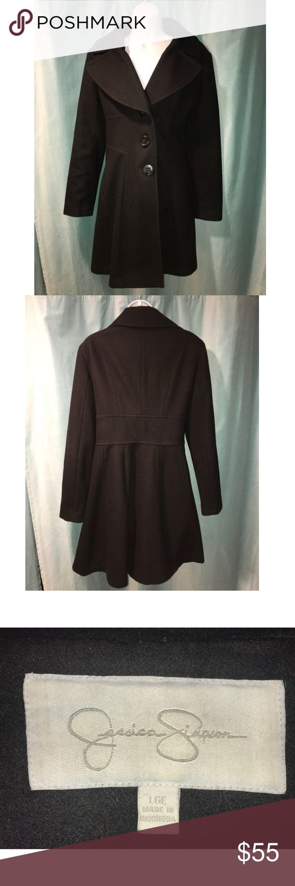Jessica Simpson Wool Blend Black Coat Sz Large Gorgeous button down wool coat. Super warm and comfortable! Coat has a subtle flare at the bottom for a little bit of classy sass! Perfect for any fashionista💓 Jessica Simpson Jackets & Coats Pea Coats