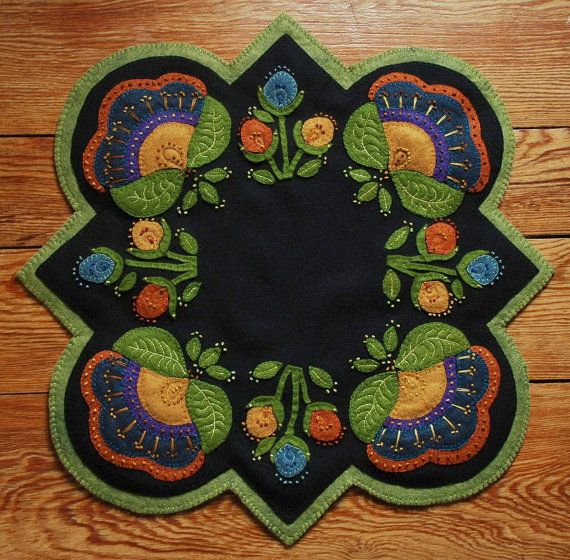 "Wool applique penny rug PATTERN ""Jacobean Round Square"" table runner topper candle mat wool folk art stencil hand dyed rug hooking wool felt"