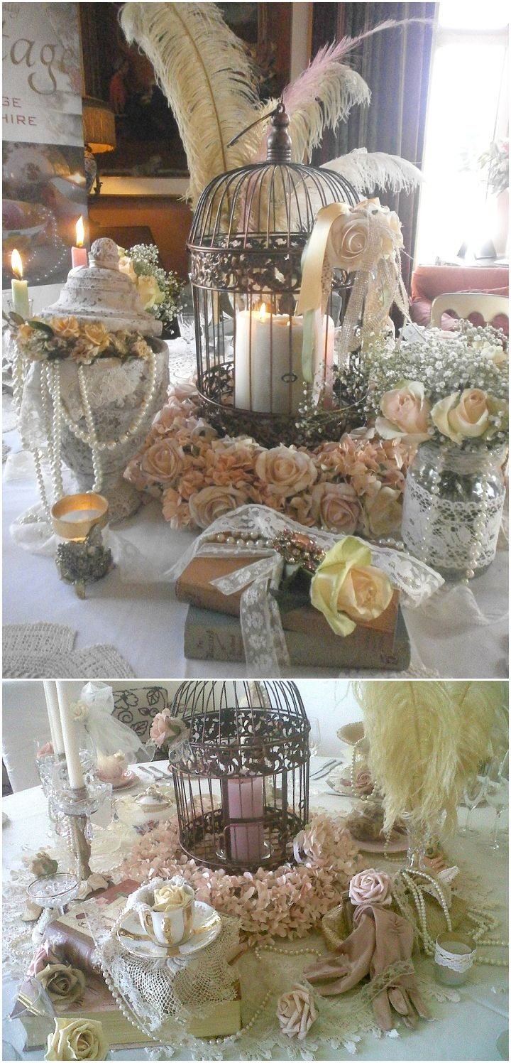 Bird Theme Wedding Ideas - Top Tips – Non Flower Centerpieces- birdcages and feathers from Beautifully Vintage
