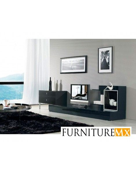 "Modern black 3-Piece entertainment center with lacquer finish.   Dimensions: Left Piece: W35.4"" x D:17.7"" x H24"" Bottom Piece: W94.5"" x D17.7"" x H8"" Right Display: W35"" x D11.4"" x H23.5"""