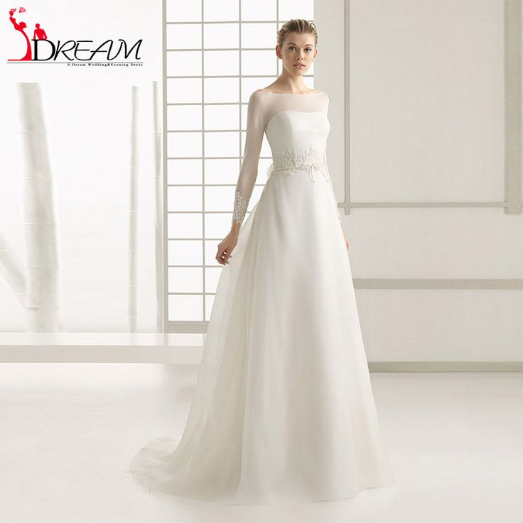 Find More Wedding Dresses Information about New Romantic Wedding Dresses 2016 Sexy illusion Bateau Neckline Long Sleeve See Through Back Vintage Bridal Gown with Flower,High Quality gown ball dress,China gown with lace sleeves Suppliers, Cheap gown bag from Orenda Wedding Dress Factory on Aliexpress.com