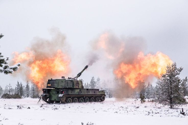 155-mm ACS K9 Thunder of the Finnish armed forces during the exercises.