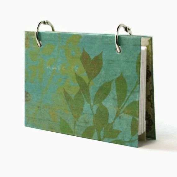 3 x 5 index card binder botanical green recipe by ArtBySunfire, $9.00