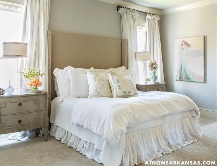 At Home in Arkansas - bedrooms - gray walls, beige carpet, ruffled bedskirt
